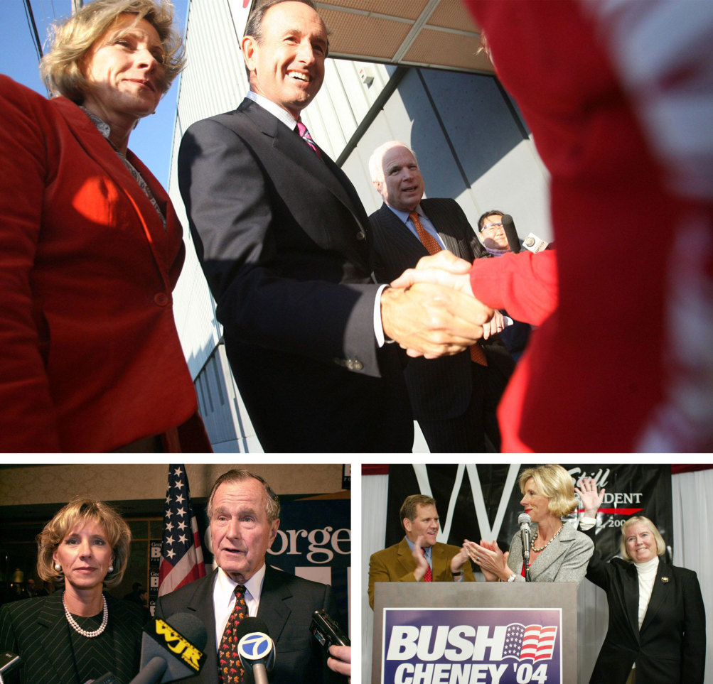 Top: Gubernatorial candidate Dick DeVos shakes hands while campaigning with wife Betsy and Arizona Senator John McCain. Bottom left: Betsy DeVos and President George H.W. Bush at a 2000 campaign fundraiser for George W. Bush. Bottom right: In 2004, Betsy DeVos campaigns with Representatives Mike Rogers and Candice Miller. | Regina H. Boone/TNS/ZUMAPRESS.com; AP Photos