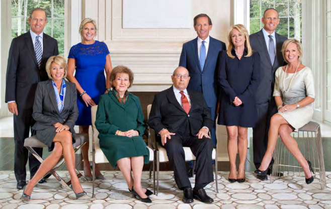 The first and second generations of the DeVos family. Left–right: Dick & Betsy, Cheri, Helen & Richard, Daniel & Pamella and Doug & Maria. | Credit: Orlando Magic Media Guide