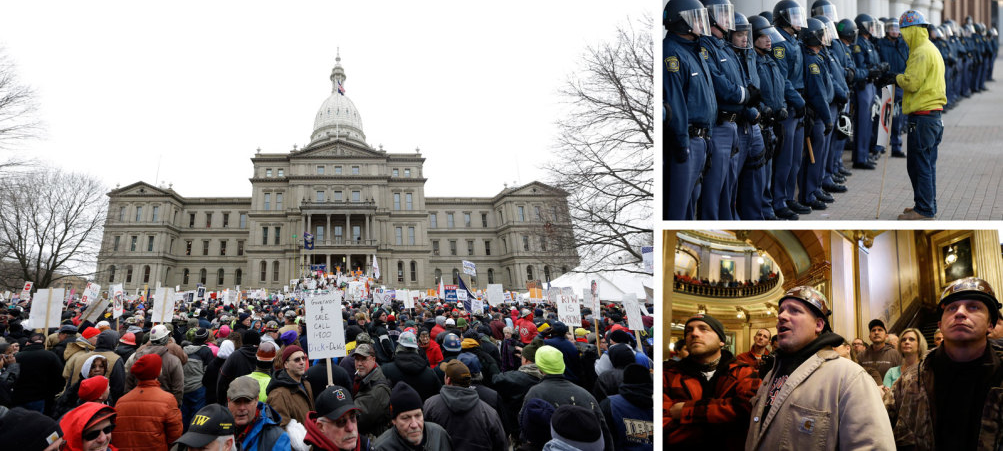 """Protesters in and around the state capitol in Lansing on December 11, 2012. """"Governor 4 Sale,"""" read one sign. """"Call 1-800-Dick-DeVos."""" 