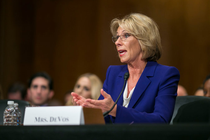 Betsy DeVos at her confirmation hearing.Credit Al Drago/The New York Times