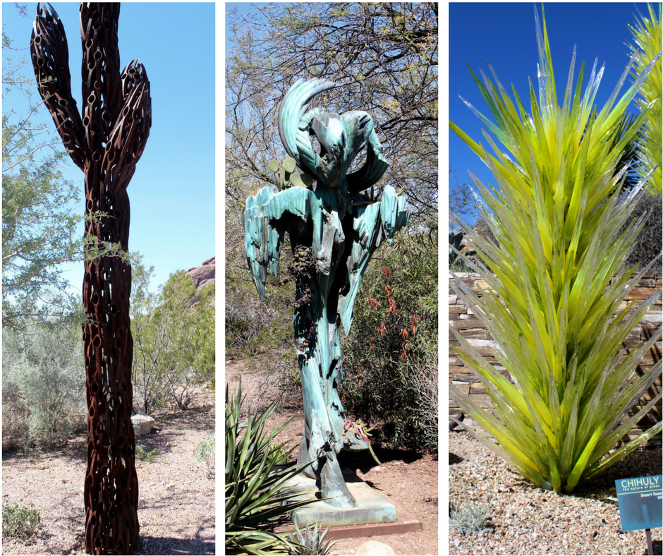 And the plant art! The first frame is a welded version of the classic Sonoran saguaro, the second frame is simply wonderful (I would love this in my yard!) and the third frame is the wonderful Chihuly interpretation of cacti. Sweet little surprises among the garden!