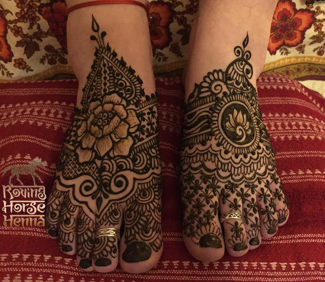 Modern henna artists work on all parts of the body. Henna conditions nails and hair.