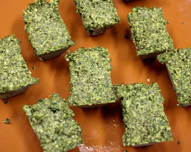 Pesto cubes from an ice cube tray. I pull out as needed and thaw in a covered dish in the fridge.