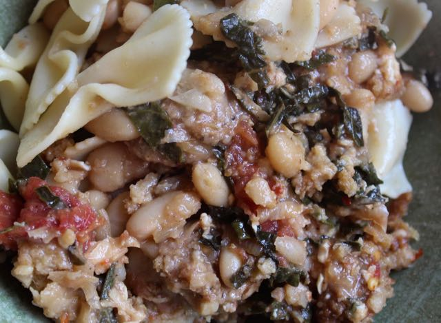 Greens & Beans Gratin with bowtie pasta
