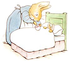 Peter Rabbit's mom with chamomile tea