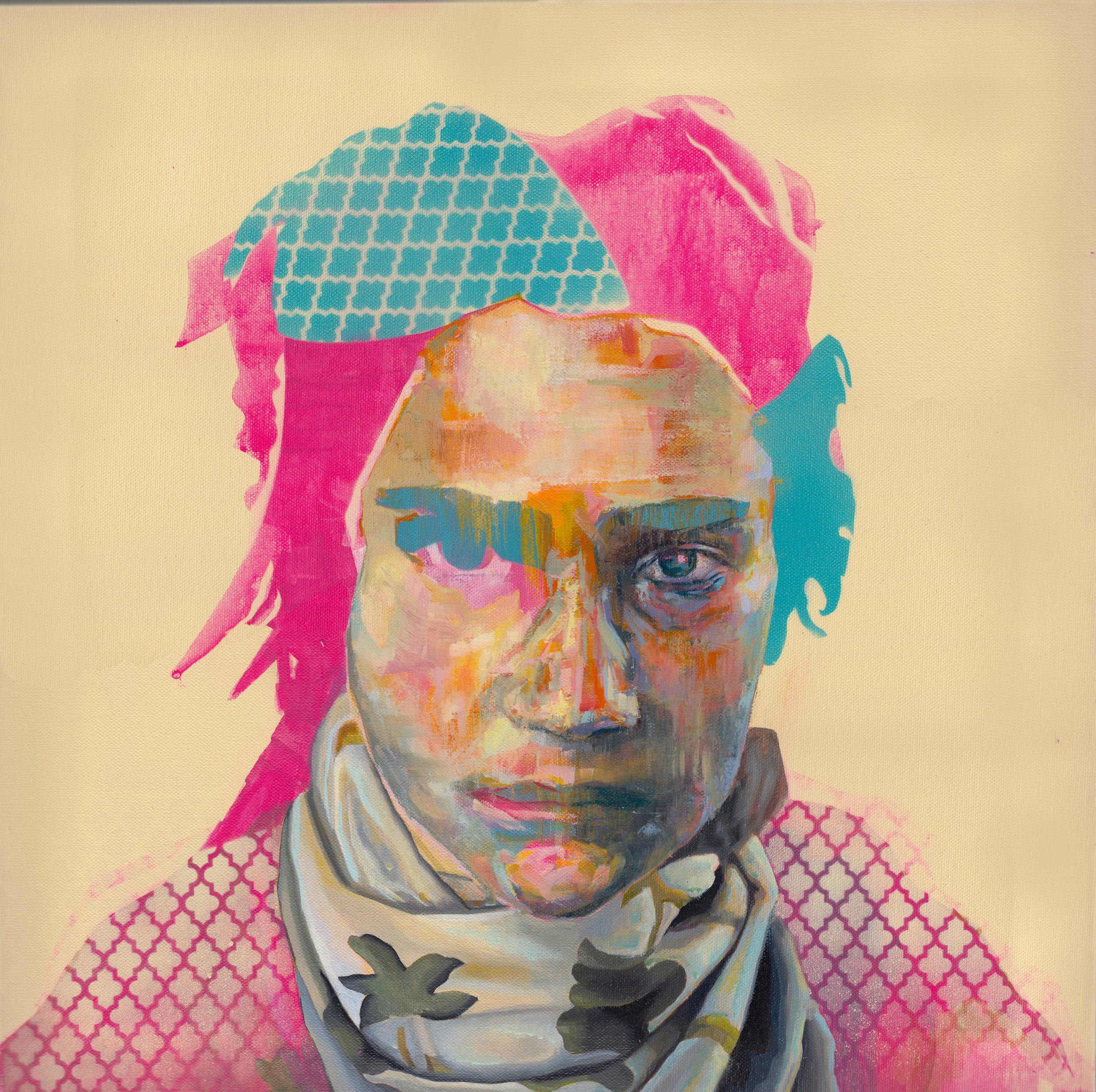 "Figure with Barbed Quatrefoil  | oil, acrylic, aerosol on canvas | 20"" x 20"""