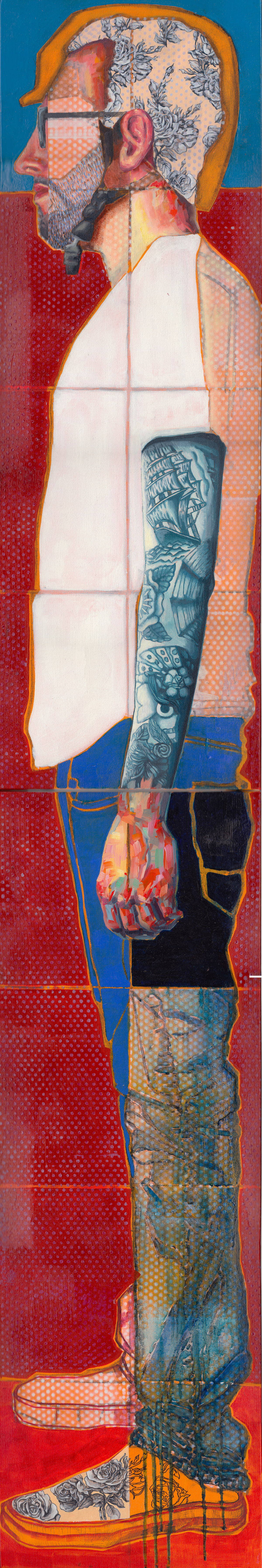 No Diving, In Profile  (diptych) | oil, acrylic, aerosol, pen & ink on canvas | 6' x 1'