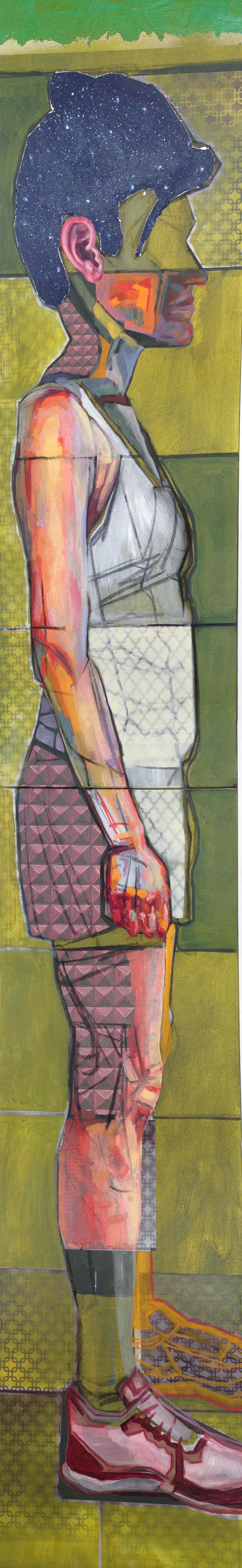 No Wading, In Profile  (diptych) | oil, acrylic, aerosol, charcoal on canvas | 6' x 1' | (SOLD)