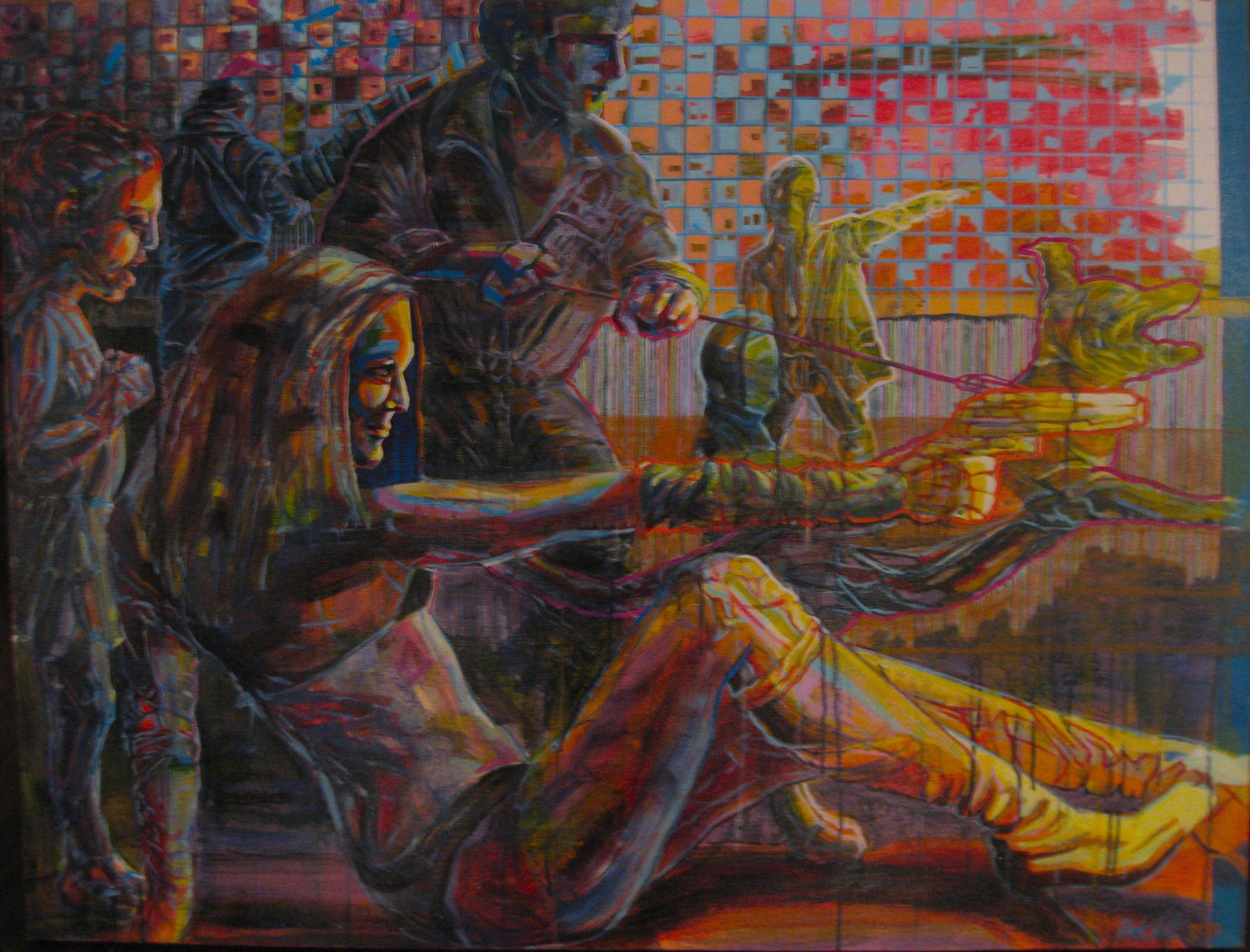 "Event | a crylic, aerosol on canvas | 40"" x 54"" (SOLD)"