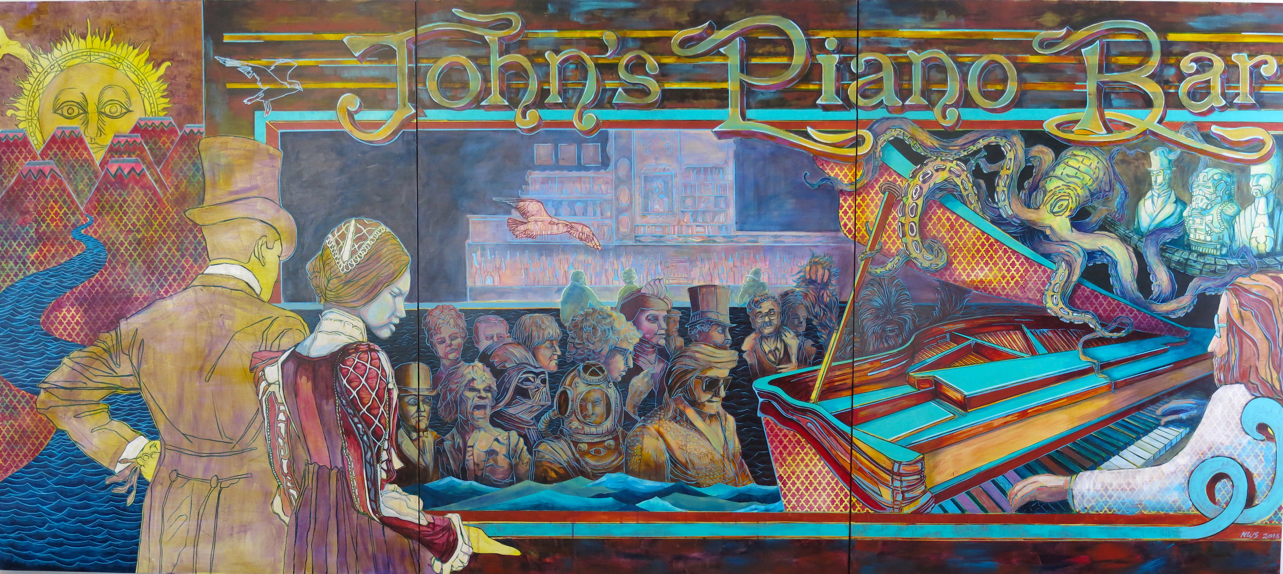 John's Piano Bar  (three panels) | acrylic on panel | 4' x 10' (total) | private commission