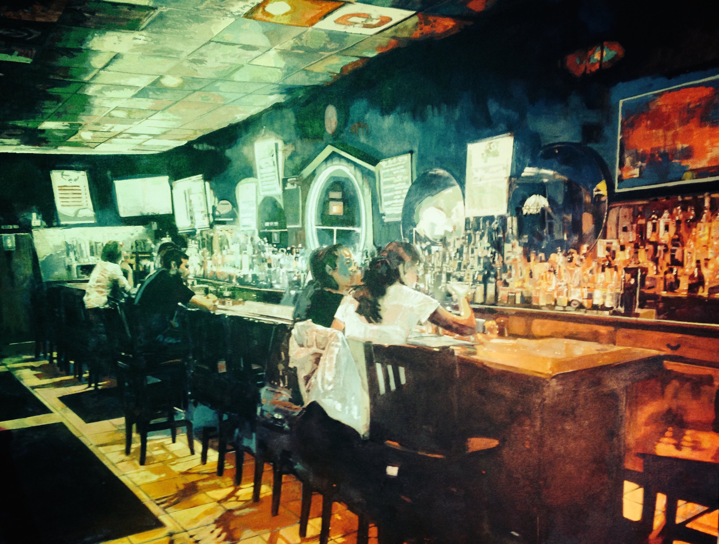 Blue Danube    collaboration with Andrew Kern   acrylic, aerosol on canvas   5' x 6'   commission for the Blue Danube Restaurant, Columbus, OH