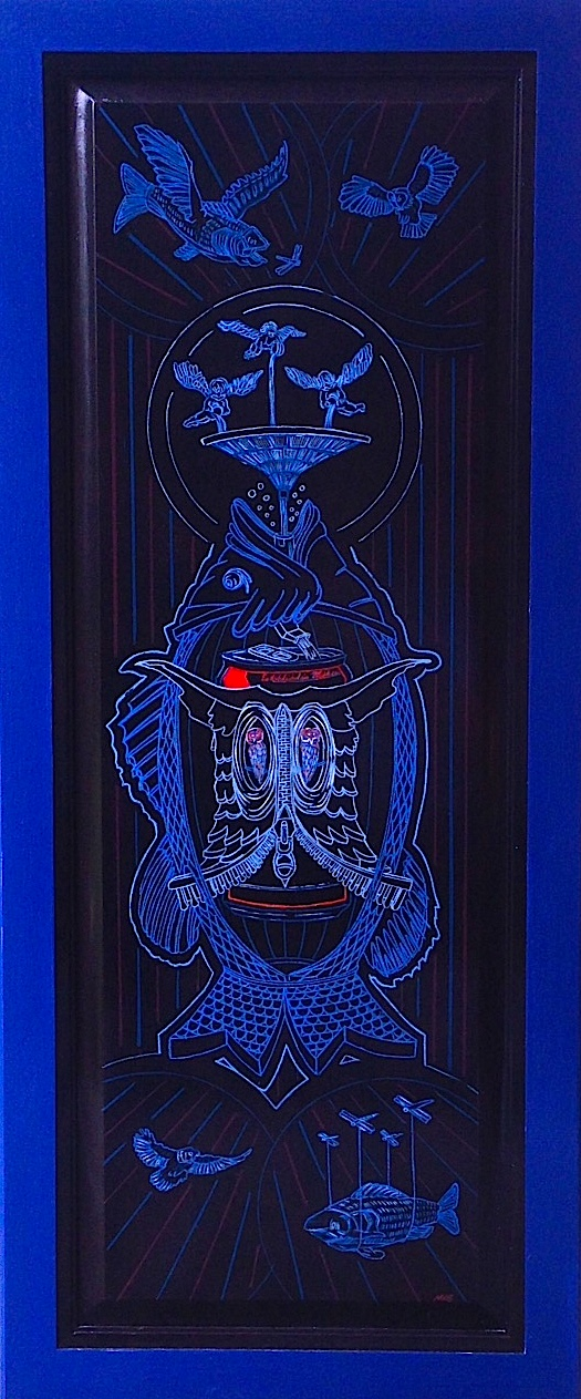 """Drunk as a Fish    acrylic on found panel   48"""" x 18""""   commission for the Pabst Blue Ribbon traveling art collection"""