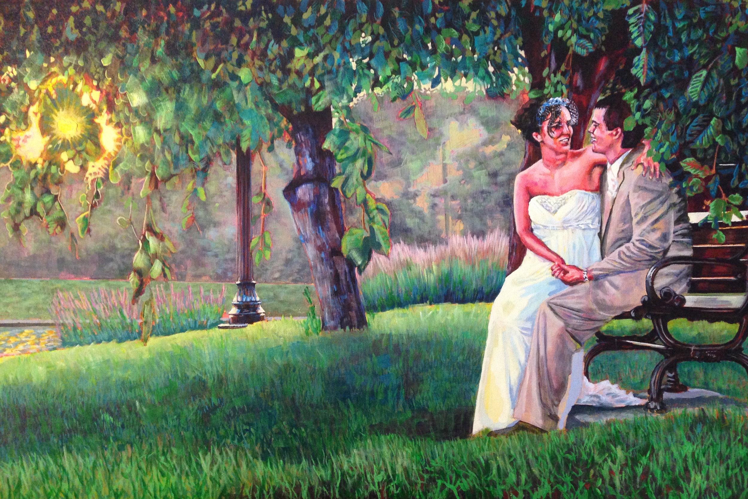 "Phil and Tina Wedding Portrait  | acrylic on canvas | 32"" x 46"""