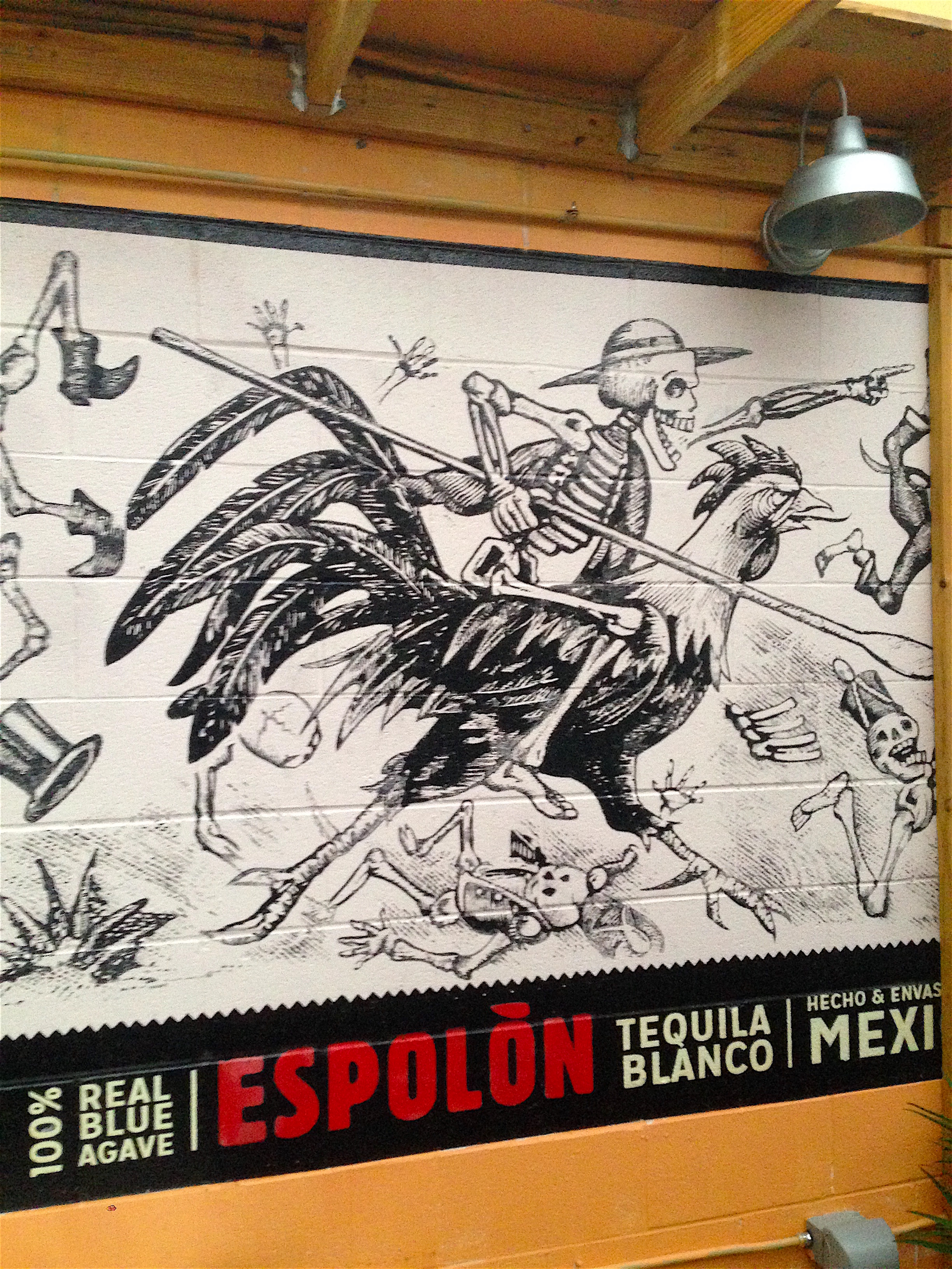 Espolon Tequila Mural (detail) | Collaboration with Andrew Kern | Oil-Based Enamel | Cucos Taqueria | Columbus, OH