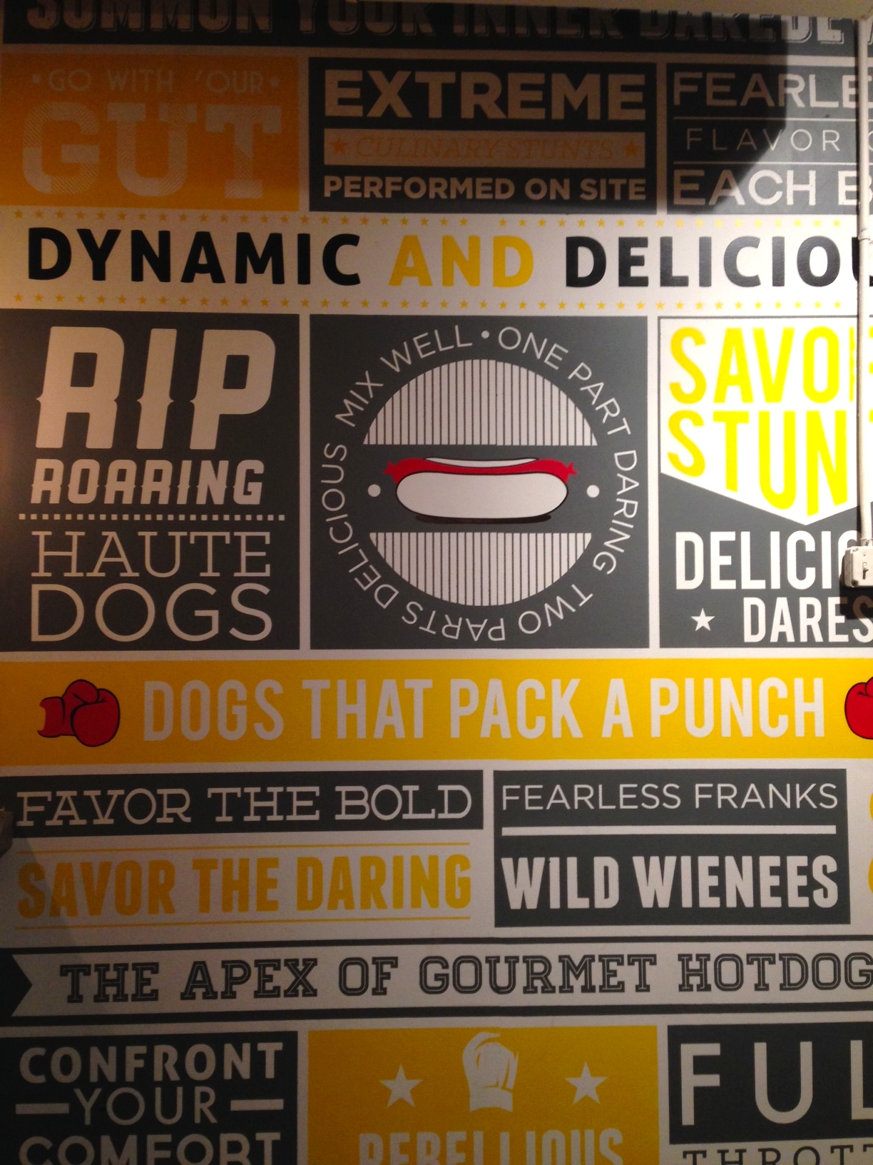 Hand Painted Graphic Mural | Collaboration with Andrew Kern | Latex Paint | Dare Devil Dogs Restaurant | Columbus, OH