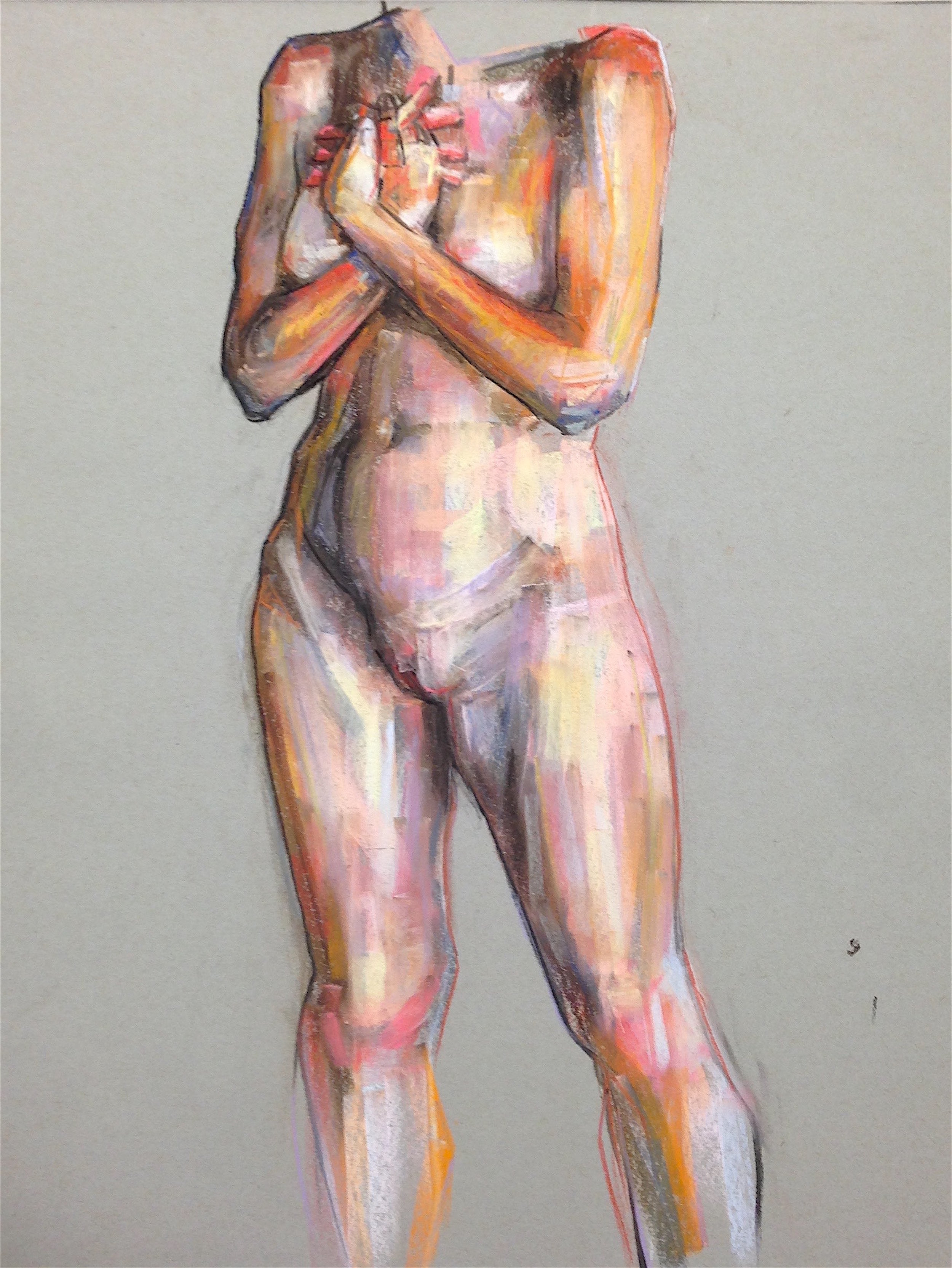 """Untitled Nude Study    charcoal, pastel on paper   24"""" x 18"""