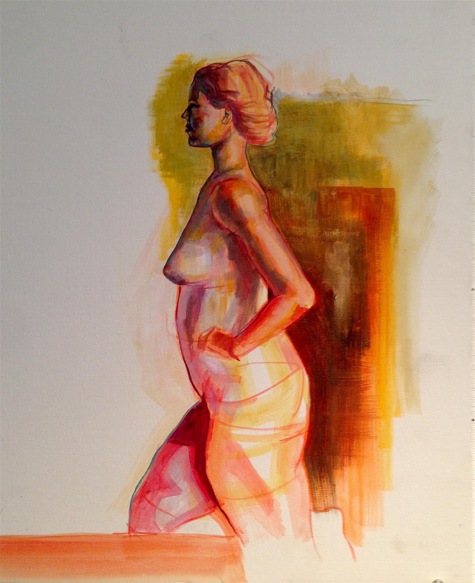 """Nude Figure Study    Acrylic on Panel   18"""" x 24"""""""