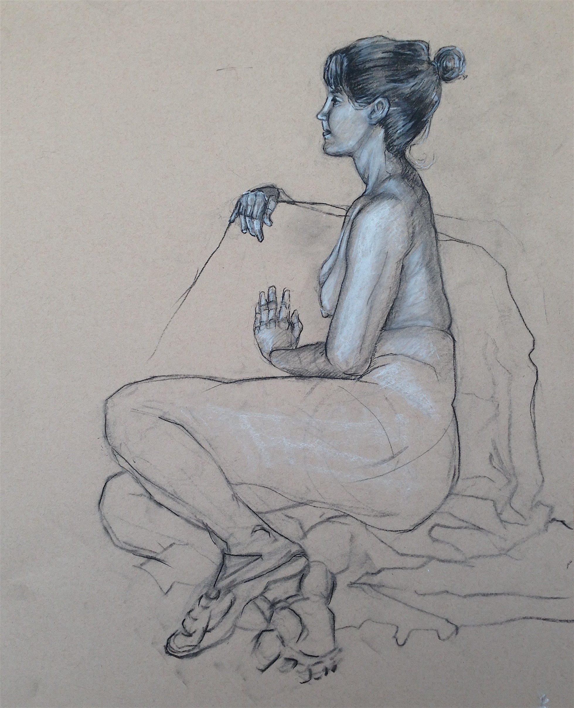 """Nude Figure Study    Charcoal on Paper   24"""" x 18"""""""
