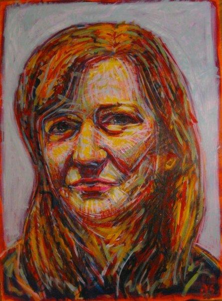 "Becca  | acrylic on paper | 30"" x 22"""