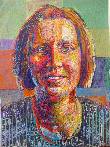 "Sara  | acrylic, paper, on canvas | 30"" x 22"""
