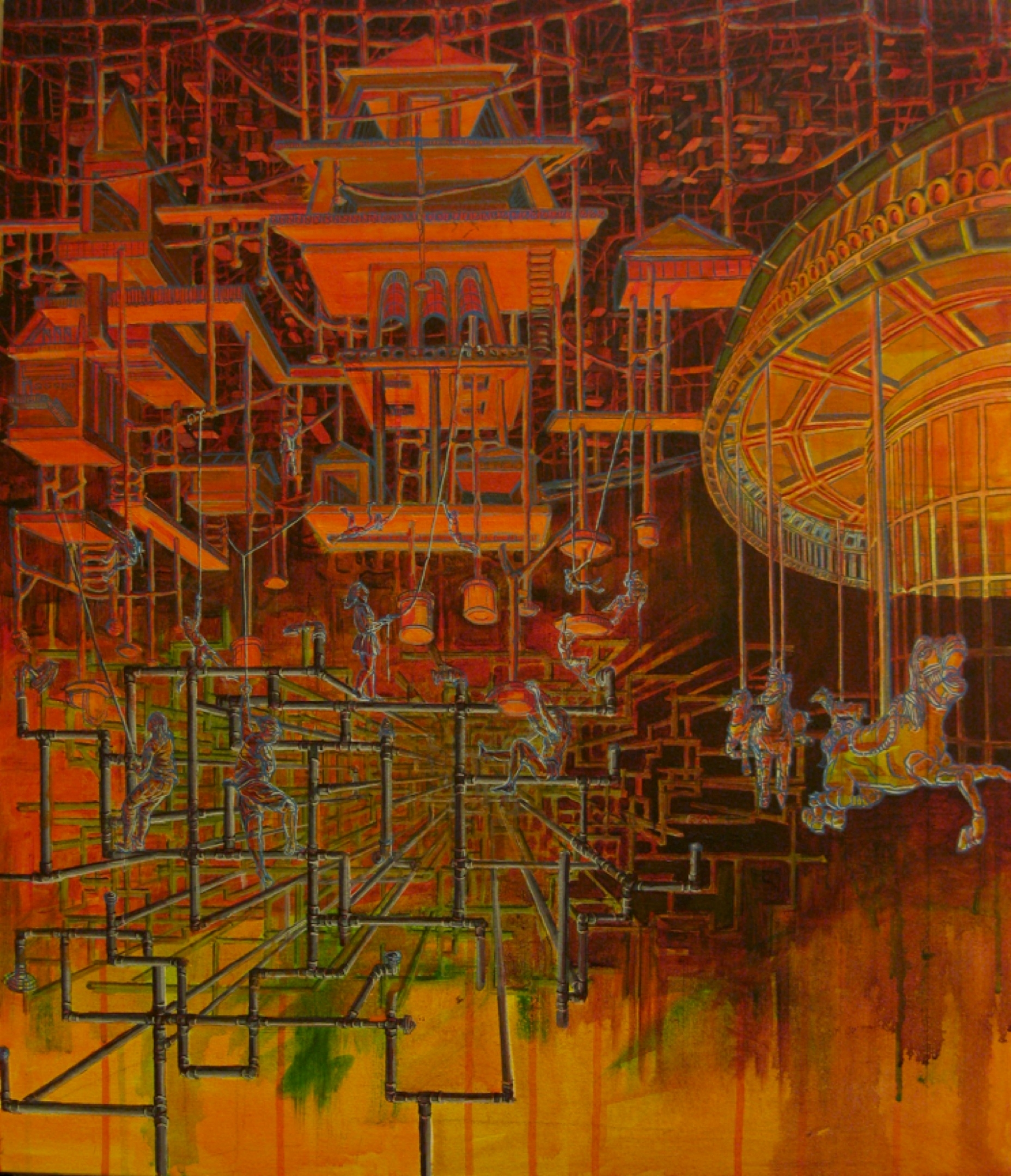"""Thin Cities    acrylic on canvas   48"""" x 36""""   private commission"""