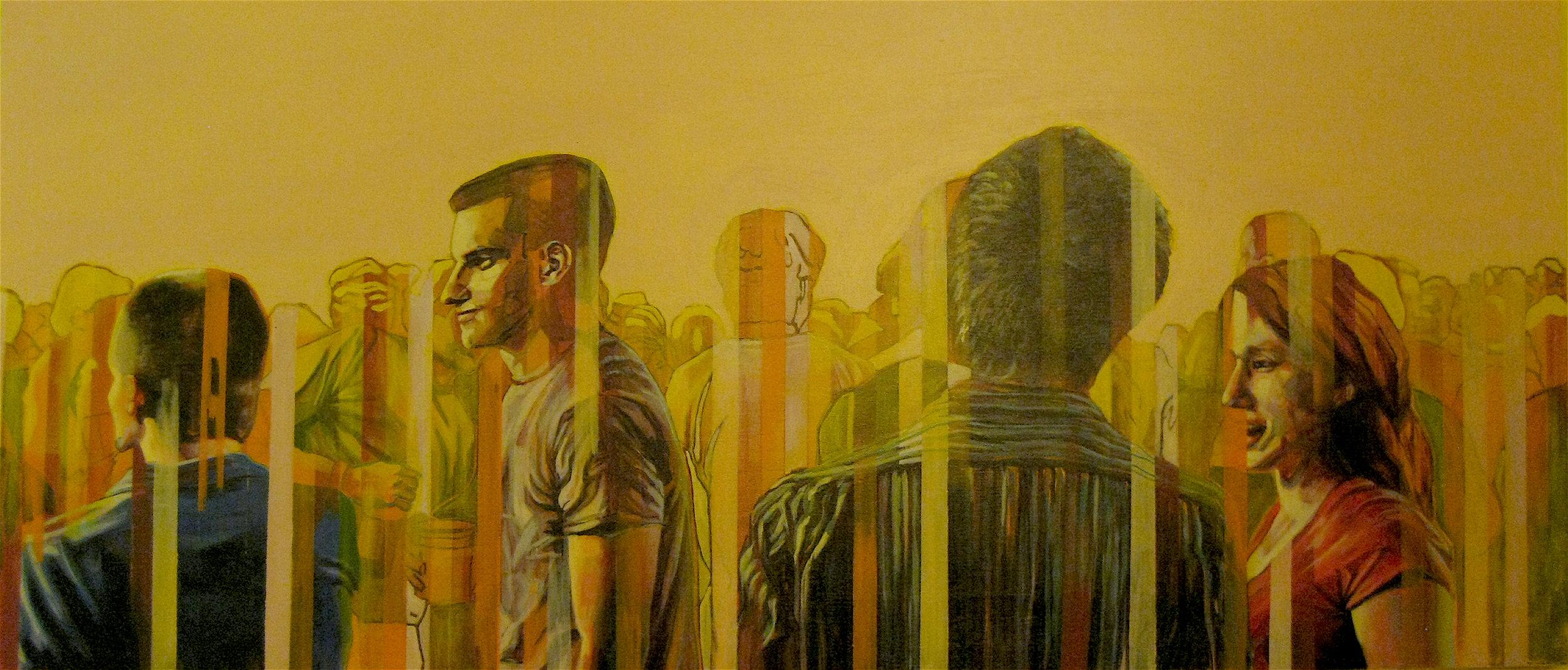 "Gathering # 4  | acrylic on canvas | 24"" x 60"""