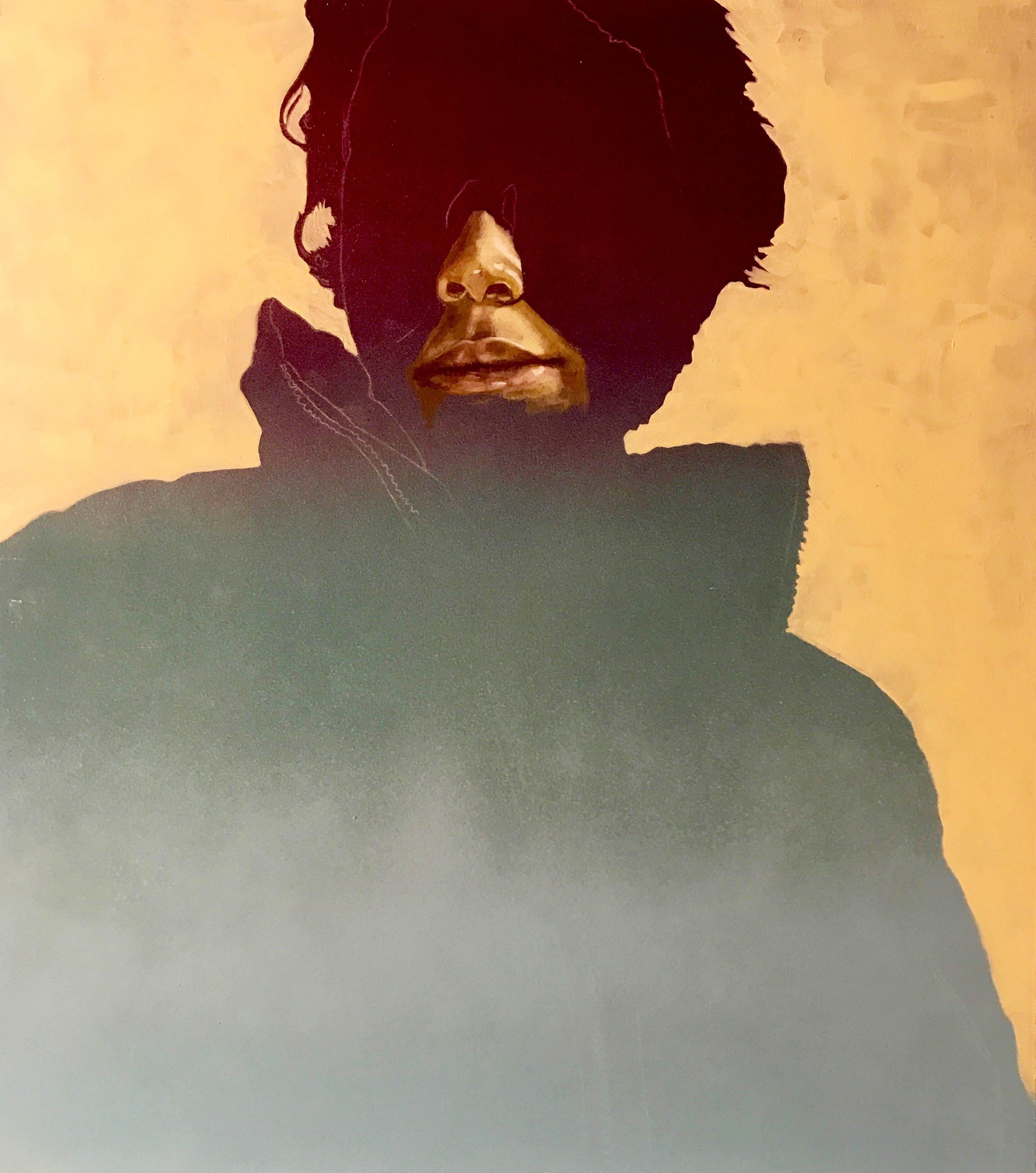 "Untitled Portrait #1 |  oil and aerosol on Panel | 18"" x 24"""