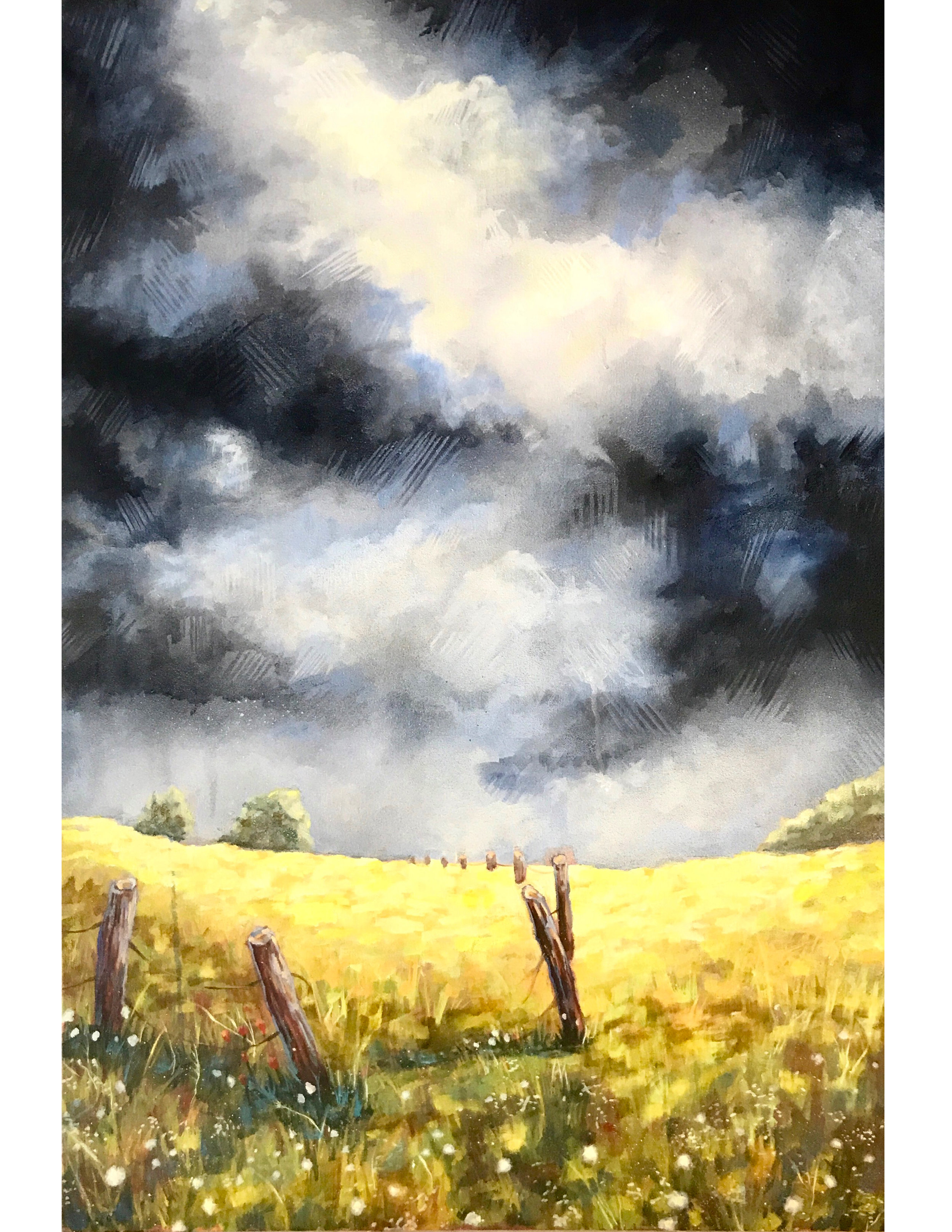 "Stormy Skies  | oil and aerosol on canvas | 48"" x 36"" 