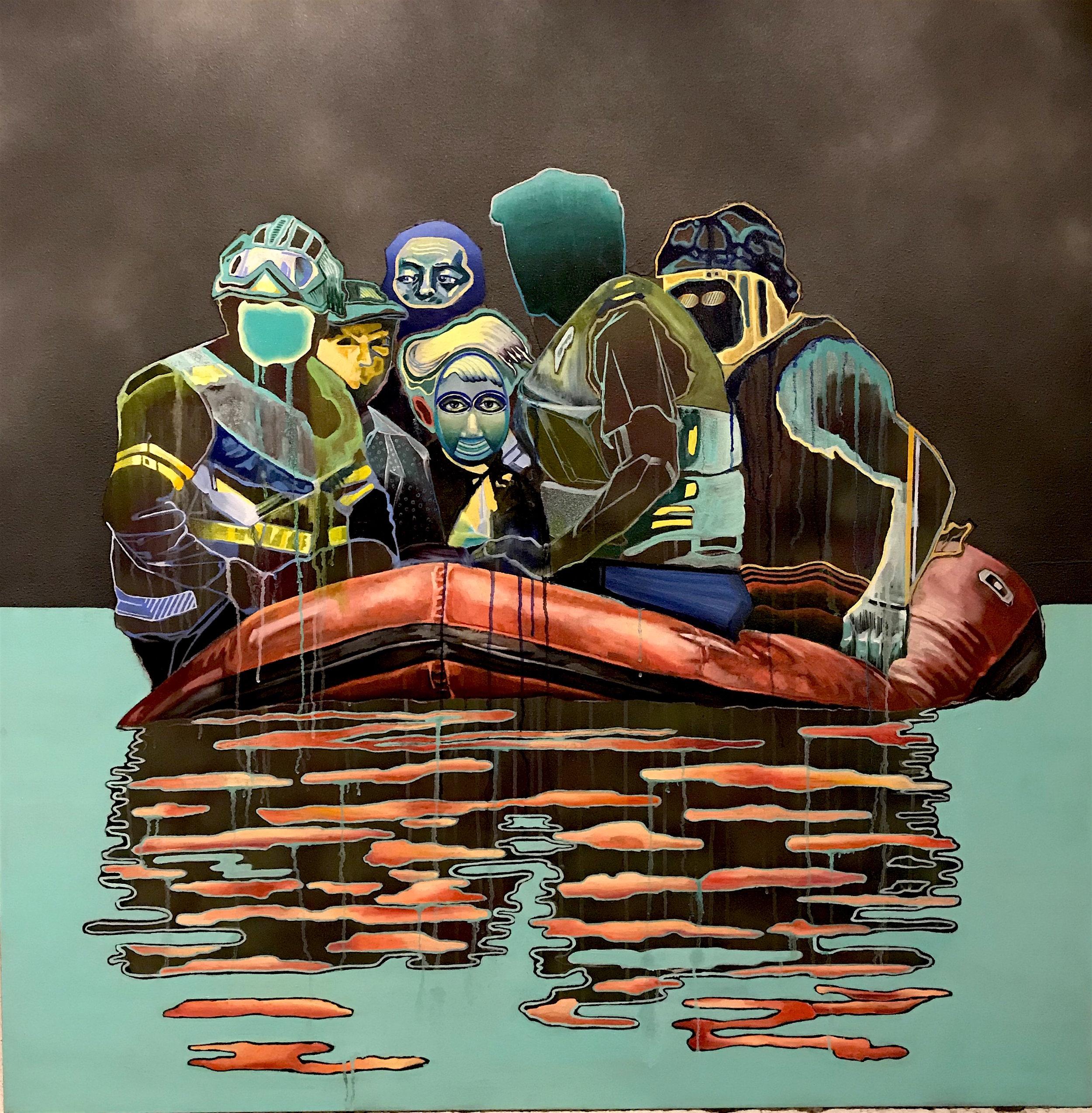 "Untitled    oil & aerosol on canvas   48"" x 48"""