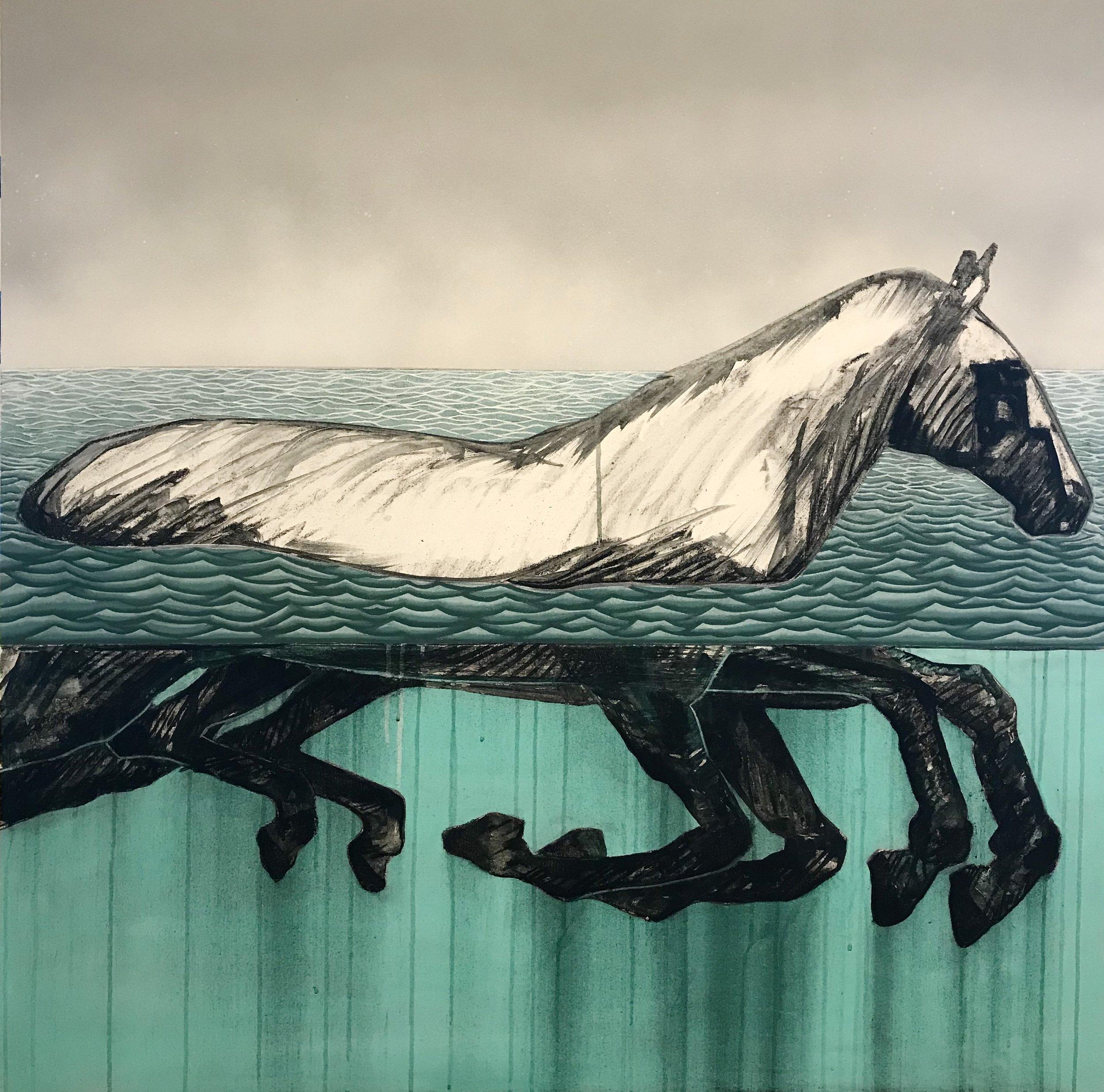 "Lake Ladoga (Kaputt)    Oil, Acrylic, Aerosol on Canvas   48"" x 48"" (SOLD)"