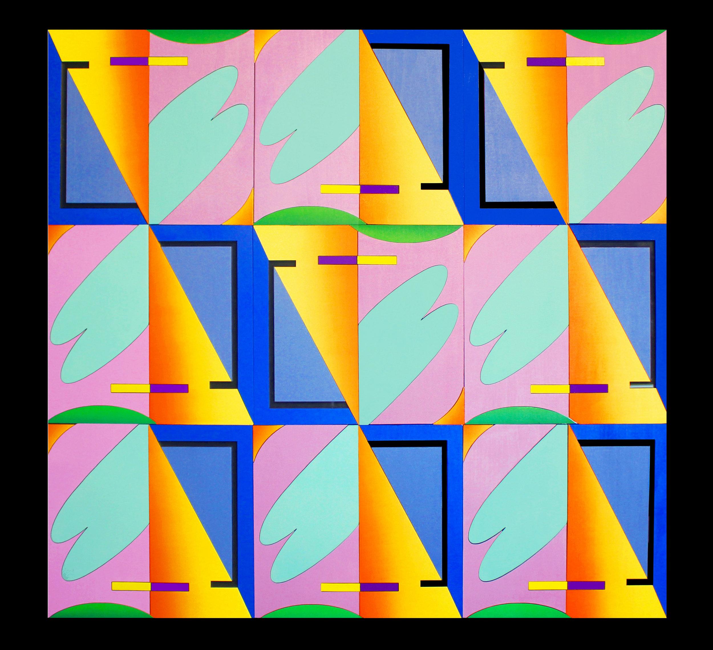 "Windows #1 (series) - 30x30"" oil painted, assembled laser cut wood, on plexiglass"