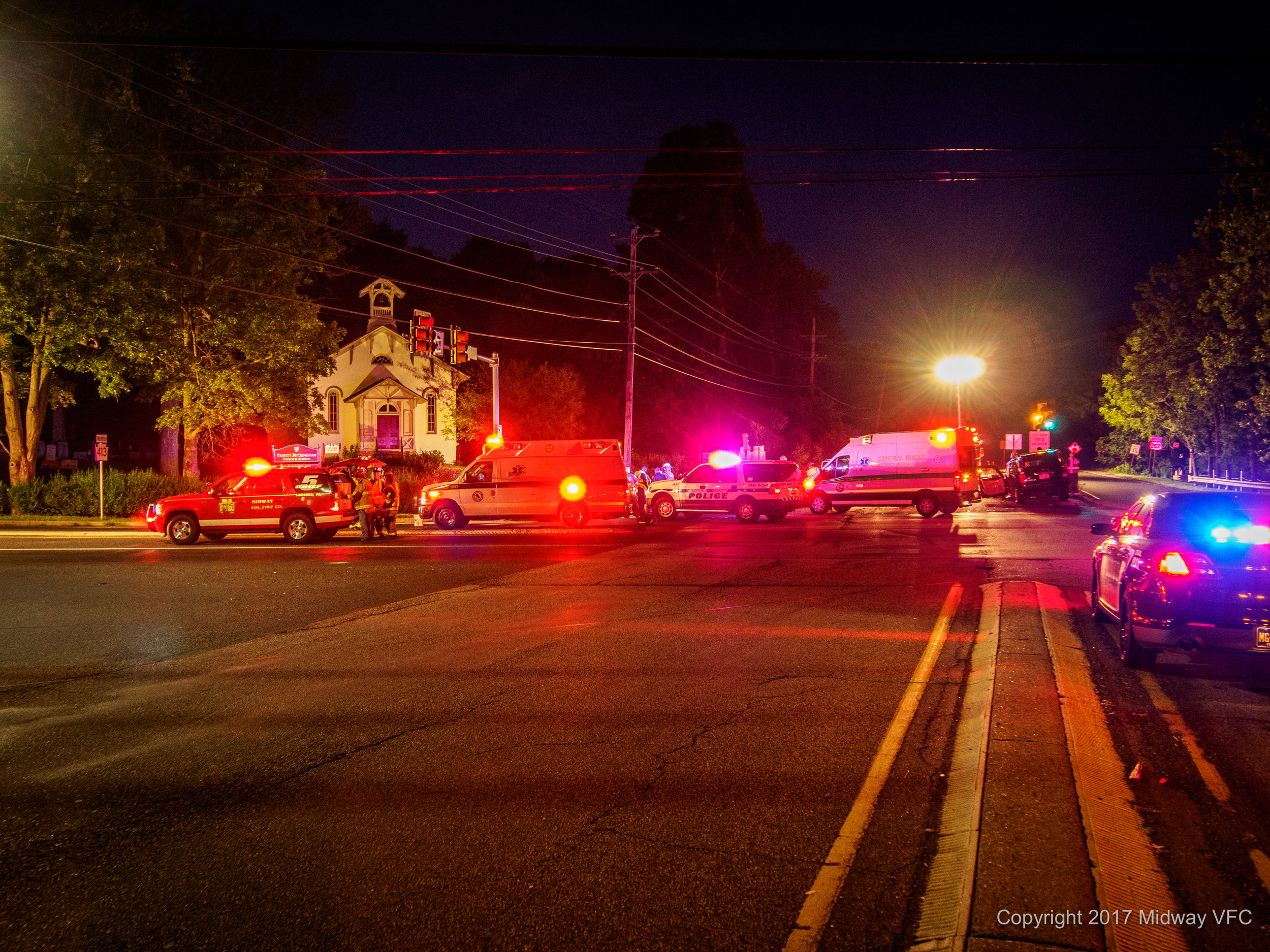 2017.07.03 at 8:59 PM - Midway Volunteer Fire Company responded to a two car accident at Rt 202 & RT 413 in Buckingham Township. All occupants exited the vehicles. Injuries to occupants appeared to be non-life threatening. No first responders (fie, police or EMT) were injured. The cause of the accident is under investigation.