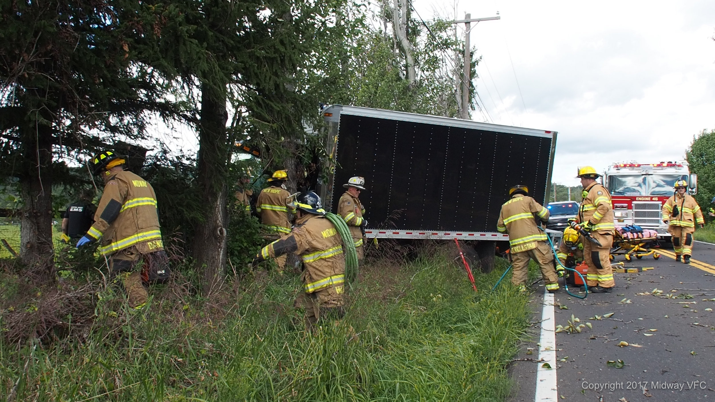 2017.09.08 at 2:22 PM - Fire companies from New Hope, Hunterdon County,Upper Makefield, and Lingohocken along with Midway Volunteer Fire Company successfully extricated the driver of a panel truck involved in a single vehicle accident on Route 232. Once extricated, the driver was taken to a local hospital by Central Bucks EMS for treatment. The cause of the accident is under investigation. None of the first responders were injured.