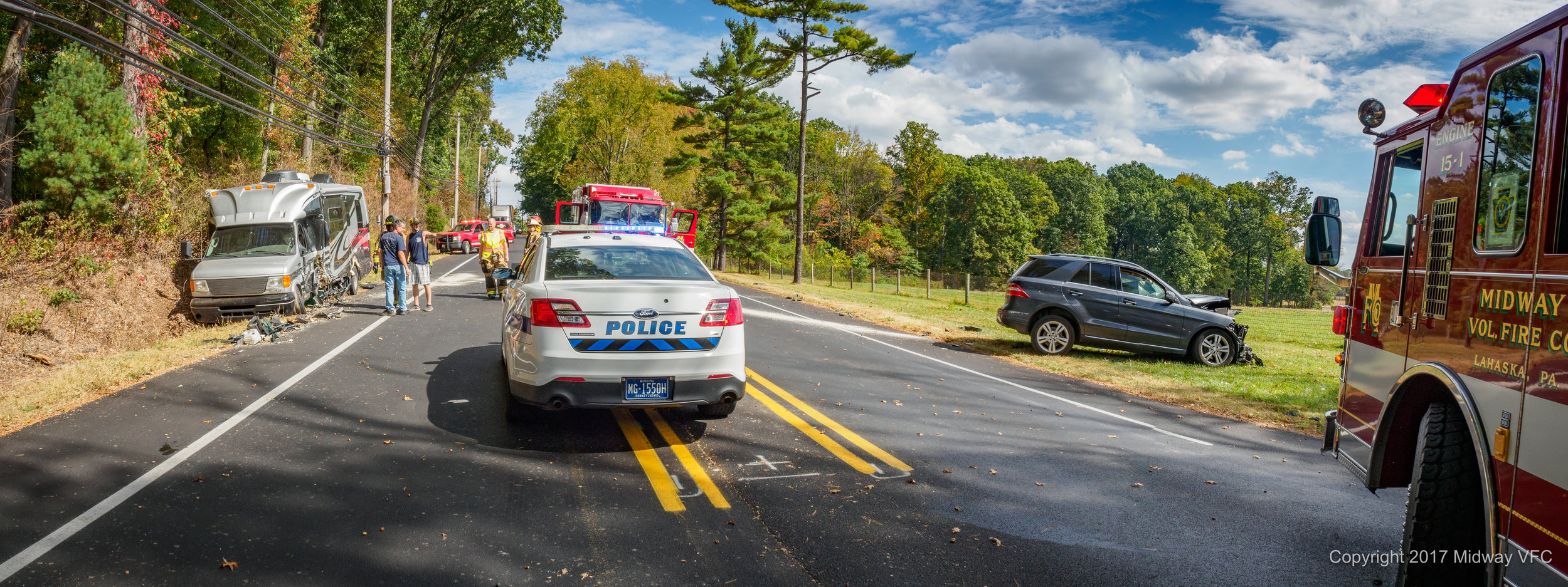 2017.10.07 at 12:18PM Midway Volunteer Fire Company responded to a two vehicle accident with an entrapment. One person was extricated from the vehicle and transported to an area trauma center. Route 202 at Bycroft Road was reopened approximately 1:30PM. There were no injuries to first responders.