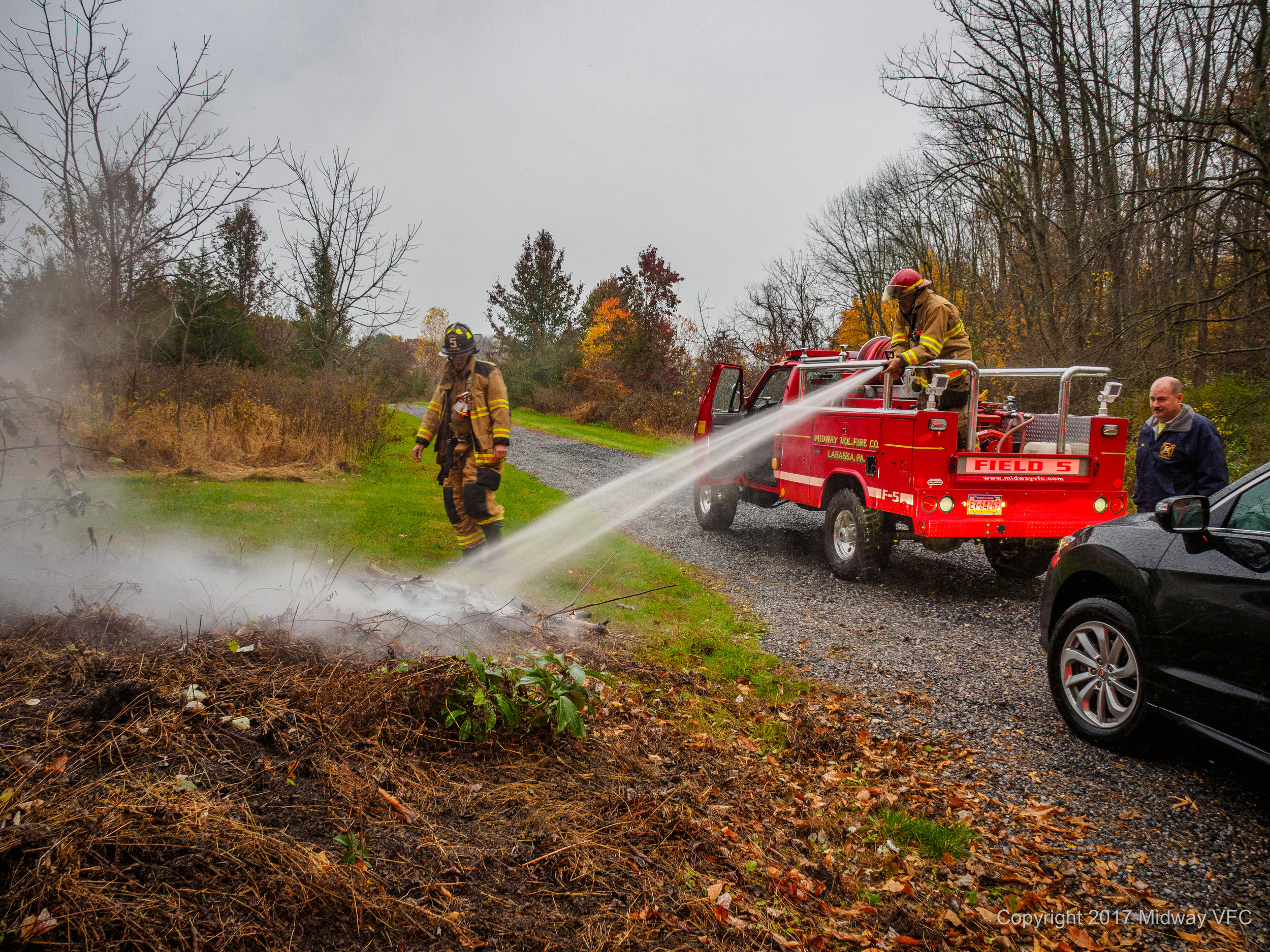 2017.11.07 at 3:42PM Midway Volunteer Fire Company responded to the report of a brush fire on Pineville Road. The team quickly put out the fire. No additional property was damaged. There were no injuries to first responders.