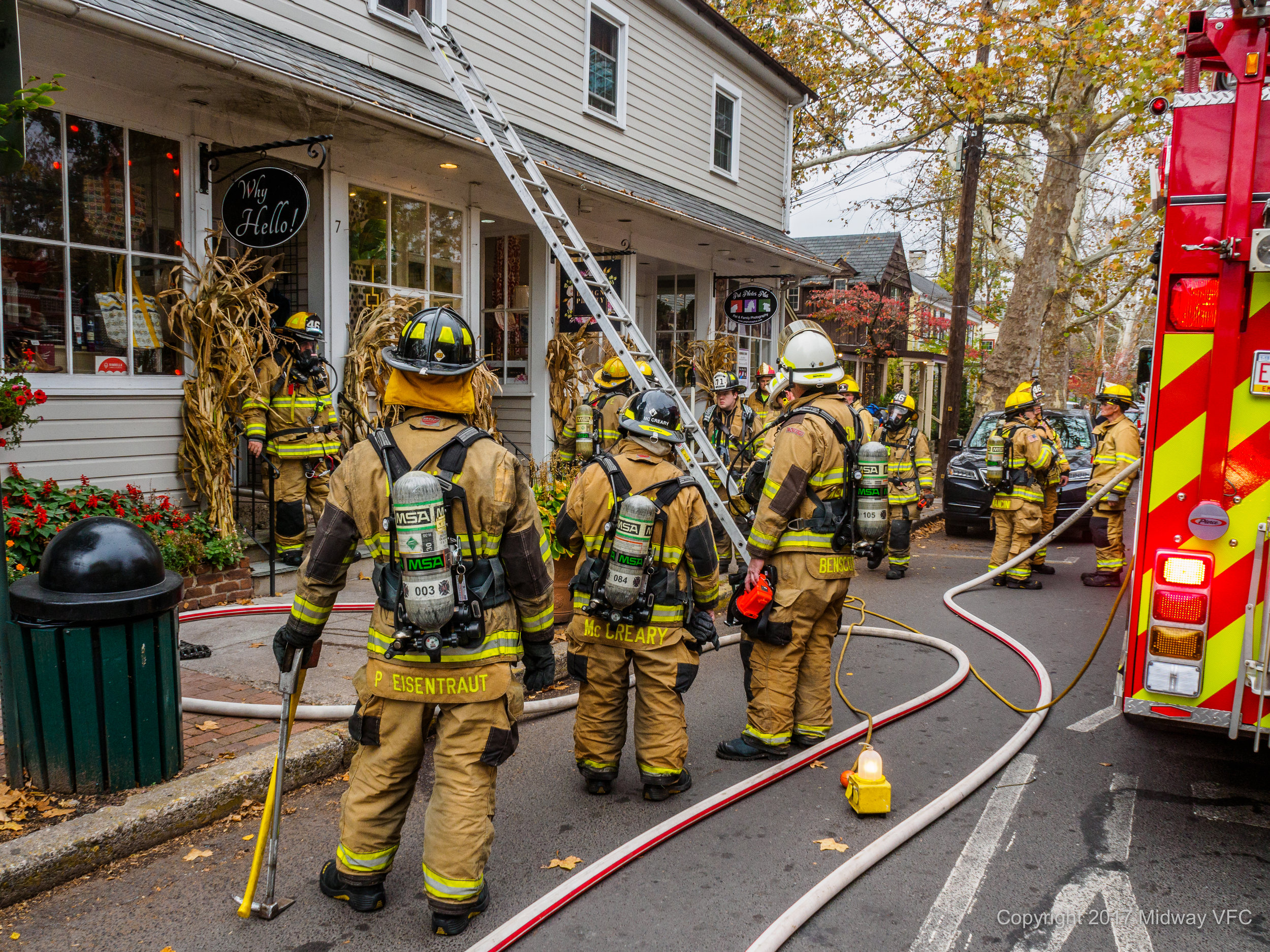 2017.11.09 AT 1:44 PM Midway Volunteer Fire Company provided mutual aid to Eagle Volunteer Fire Company in responding to a fire in a retail establishment on Main Street in New Hope, PA. There were no reported injuries at the scene. Cause and damage estimates are being determined.