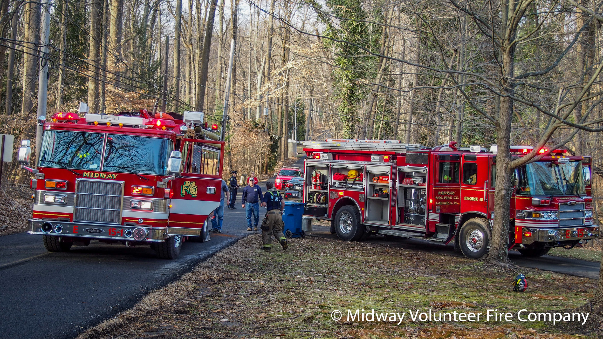 2019-02-01 - Midway Volunteer Fire Company's Engines 05, 15 and 15-1 responded to reported dwelling fire on Mill Road. Upon arrival, the fire was quickly extinguished. There was one reported minor injury that was treated at the scene by Central Bucks EMS.