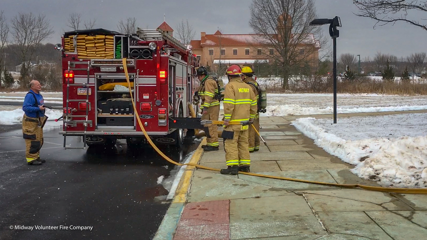 2019-02-13 - Midway Volunteer Fire Company, with the support of neighboring fire companies (New Hope, Lingohocken, Plumstead, Doylestown, Point Pleasant, and Warwick) responded to the report of a fire at Cold Spring Elementary. Chief 5 was on scene three minutes after the call went out and escalated the response. In total there were 14 trucks (engines, ladders, rescue and EMS) on scene and another eight units covering empty fire stations. The fire was quickly contained and placed under control within 18 minutes. There were no reports of injury to the students and teachers or the first responders.