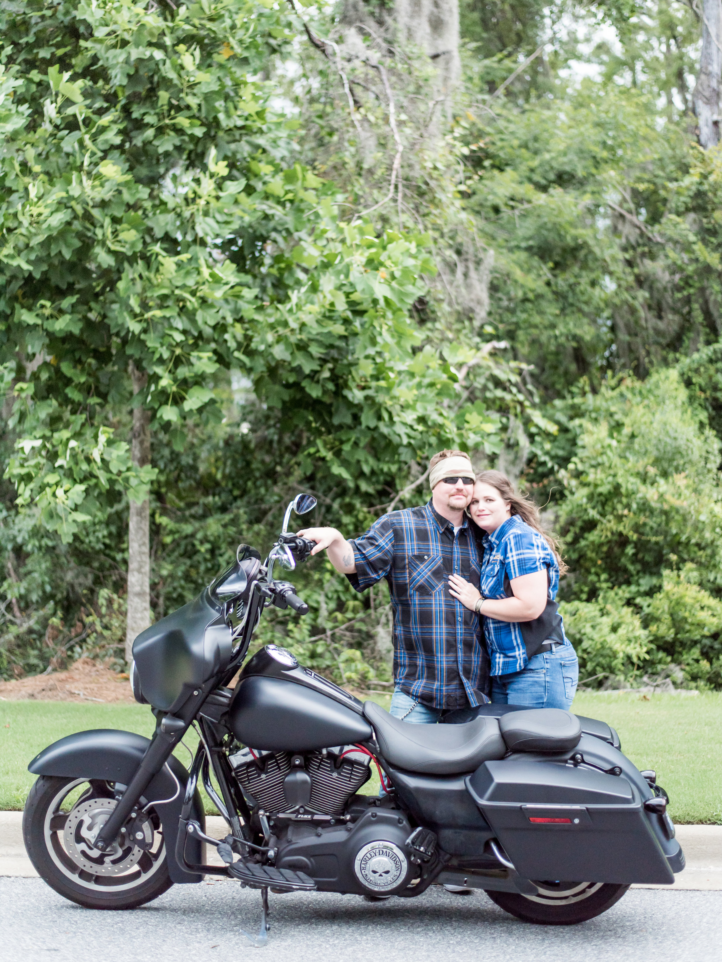 Biker couple engagement photography