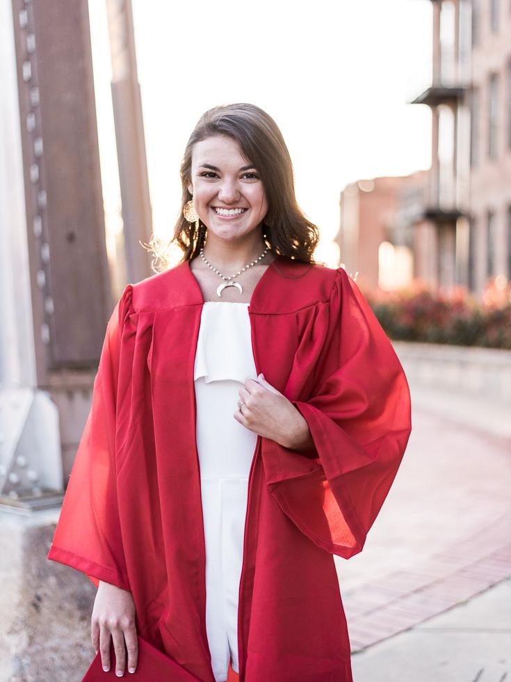 Columbus GA spring senior cap and gown session