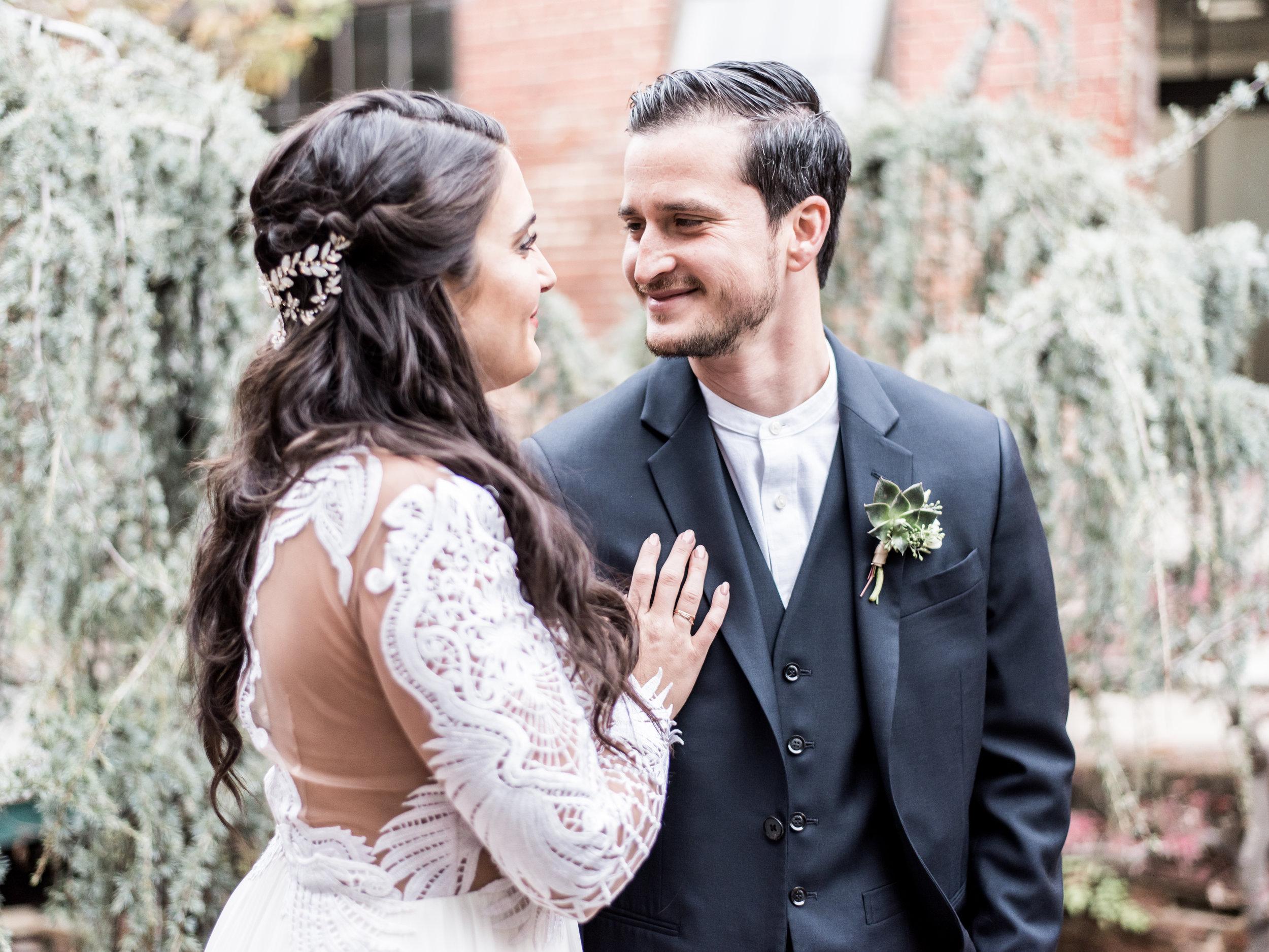 Boho bride gets married in a garden in Atlanta Georgia