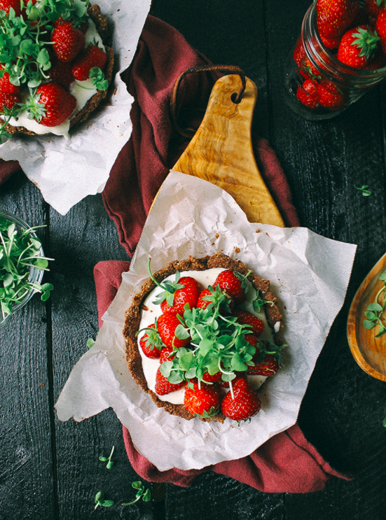 Mini Strawberry Chocolate Tart with Basil Microgreens