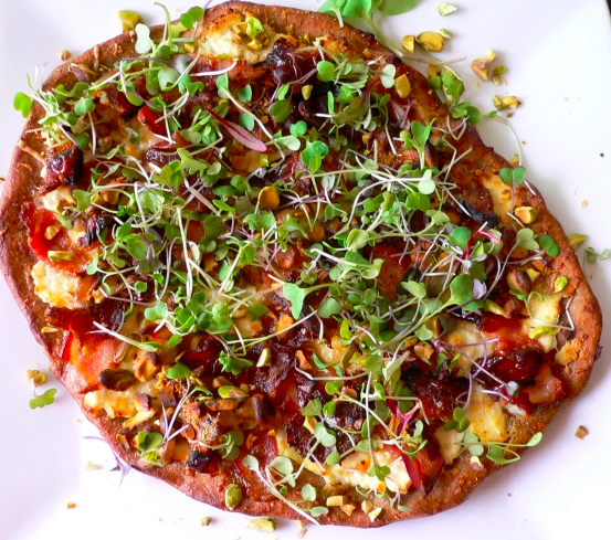 Parmesan and Ricotta Pizza with Microgreens