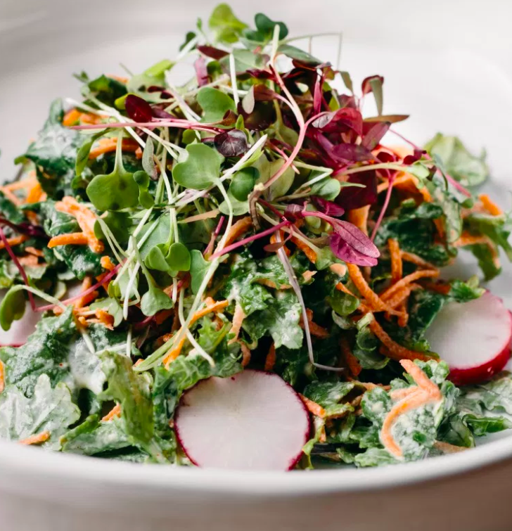 Microgreen and Kale Salad with Tahini
