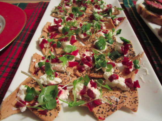 Beets and Goat Cheese with Horseradish on Lavash Crackers Topped with Microgreens