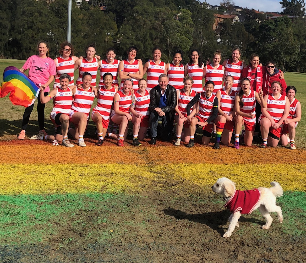 The 2019 Womens team for their Pride Round