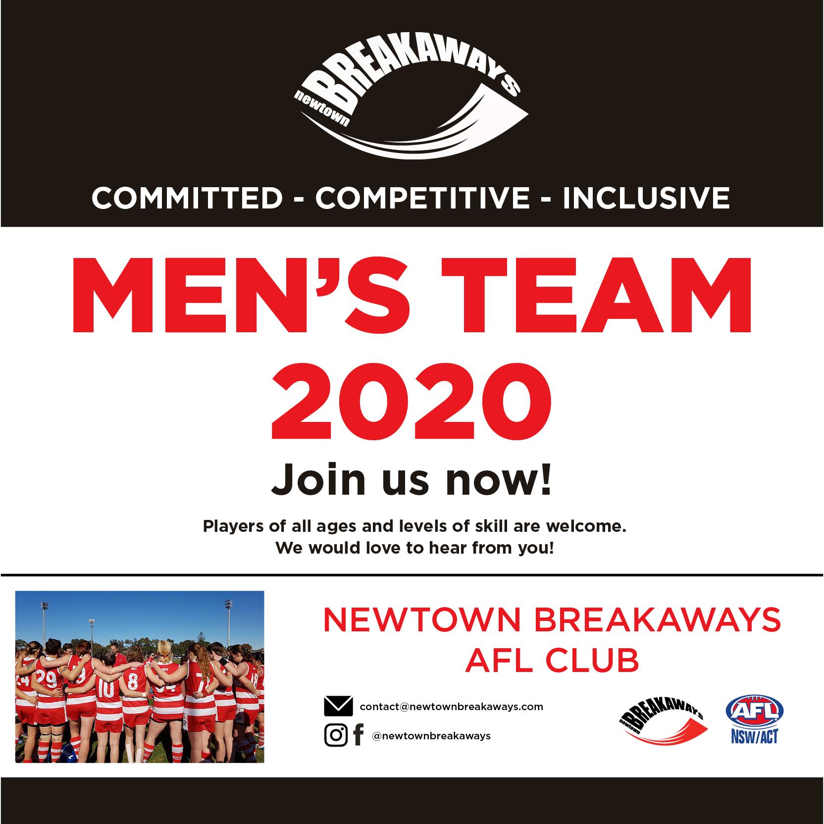2020 Mens team announcement