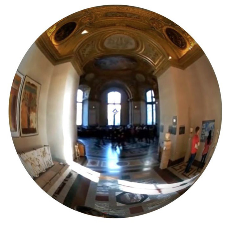 1. Unwrapped 360 Image An example of what the user would see while viewing a 360 video of a person walking through the Louvre with Google Cardboard device.