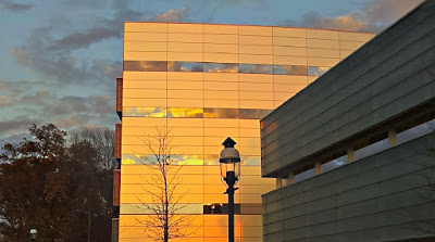Det nybyggda Princeton Neuroscience Institute i solnedgången