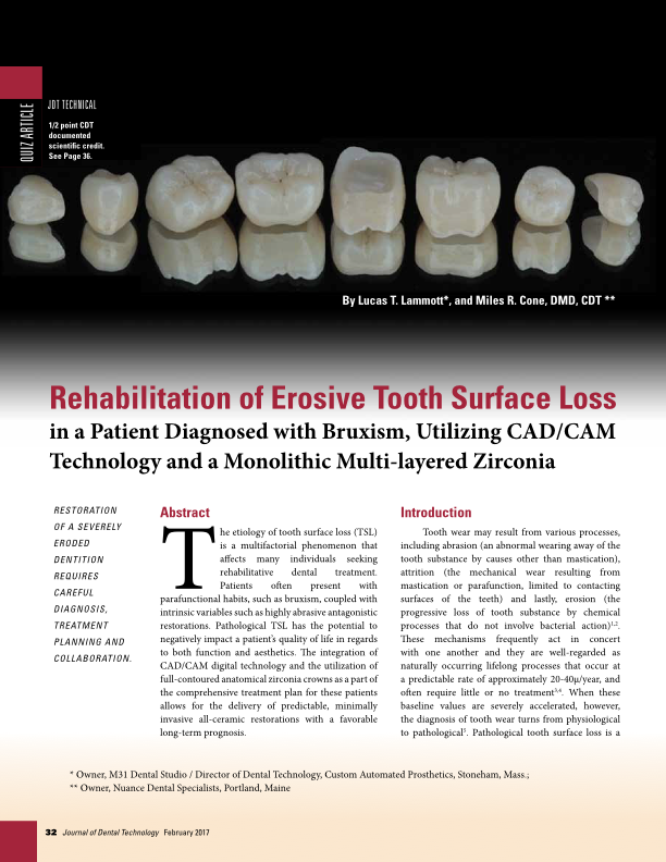 Rehabilitation of Tooth Surface Loss Utilizing CAD/CAM Technology -